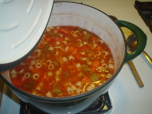 Memories of summer - I made this minestrone  with tomato sauce from last year's garden.