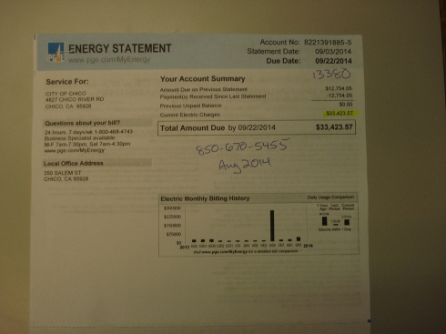 One month's electricity to run the sewer plant.