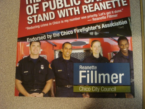 But she'll take the fire department's endorsement because Michael Jones only asked her about the cops?